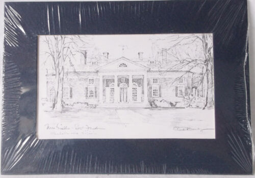 Vintage MONTICELLO HOME OF THOMAS JEFFERSON  Pencil Drawing Print-5 X 7-Sealed