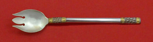 """Aegean Weave Gold by Wallace Sterling Silver Ice Cream Fork 6"""" Custom Made"""