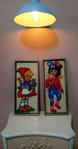 Vintage Tapestry Wall Hanging Decor tapestry cross stitch of boy and girl 40s