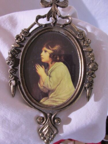 Beautiful Vintage Picture & Metal Frame & Glass Made In Italy Photo Small Lot#17