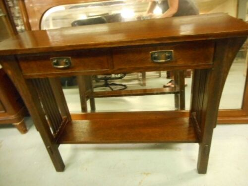 stickley mission oak console hall table w/2 drawers marked Lot 47