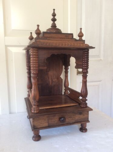 "Antique Original Hand Carved Fine Art Wooden Worship Temple, 21 1/2"" Tall"