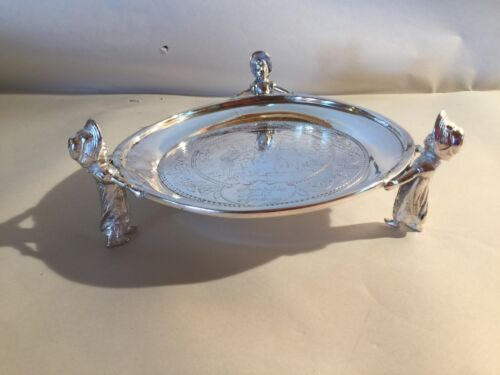 """Rare 7.25"""" Inscribed Silver Plated Salver Supported By Kate Greenaway Figures"""