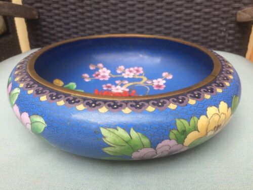Large Vintage Chinese Cloisonne Enamel 'PEONY BLOSSOMS' Low Bowl Great Condition