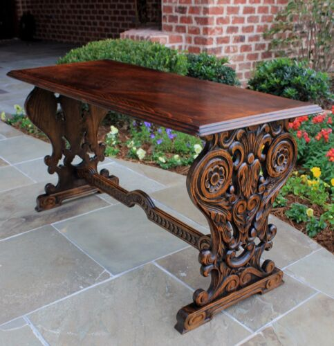 Antique French Oak Trestle Table Gothic Style Coffee Table Bench Seating Wide