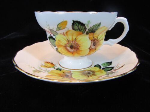 Vintage Bone China England Teacup and Saucer White W/ Yellow Rose Flowers