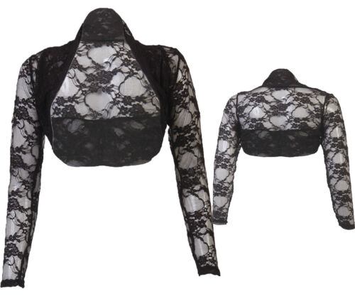 JUSTYOUROUTFIT Womens Cropped Lace Bolero Shrug black (size 8 to 24)