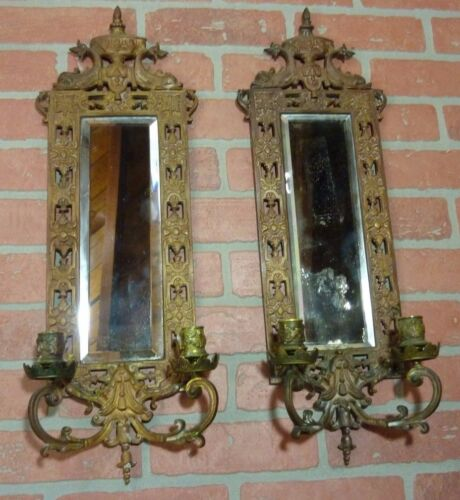 Antique Pair 1880s Bronze Victorian Blaesius Dauphins Bevel Mirror Candlesticks