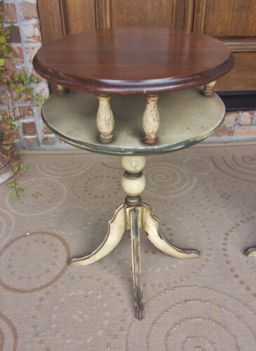 PAIR ANTIQUE FRENCH PROVINCIAL PETITE TIERED SIDE TABLES NIGHTSTANDS STANDS