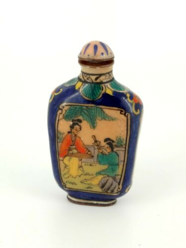 Chinese Scent Glass Bottle Painted Birds
