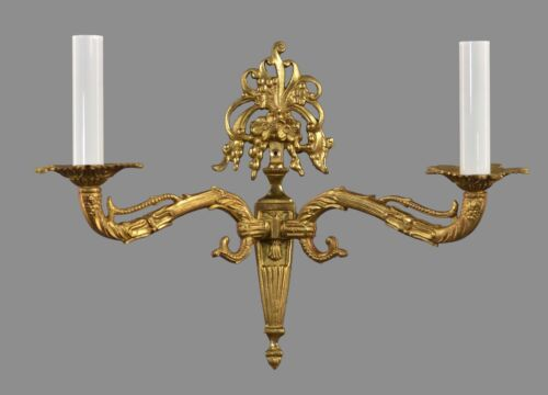 PAIR 2 Arm Gold Bronze Wall Sconces c1940 Vintage Antique Ornate French Italian