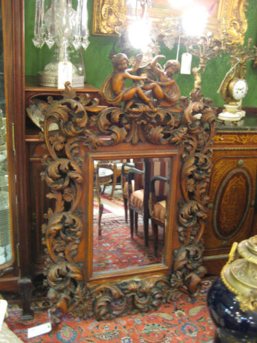 Magnificent Very Old Red Carved Wood Mirror
