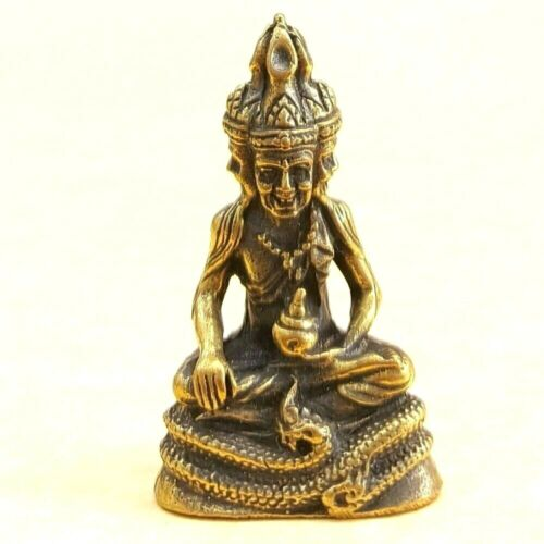 RUE SEE 4 Face Sit on Nak Naga Thai Brass Amulet Lucky Success Rich Love Luck