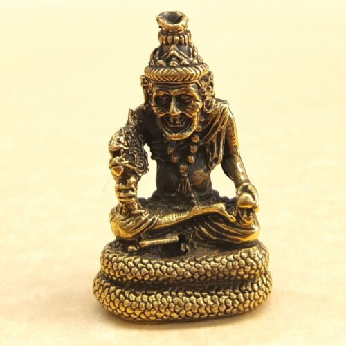 PHRA RUE SEE NA ROD SIT ON NAGA Talisman Thai Brass Amulet Lucky Love Rich Luck