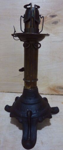 Antique Patent Adjustable Candlestick Lamp (Dr Hinds) 1864 65 68 Cast Iron Brass
