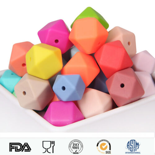 50Pcs Silicone Beads Loose Teething Chew Jewelry Teething Necklace Teether DIY