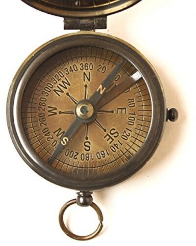 Brass Compass Vintage Finish Kelvin Hughes 100 Year Calendar Compasses Lid