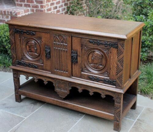 Antique French Oak GOTHIC 2-Tier Cabinet Console Sofa or Entry Table Server Bar