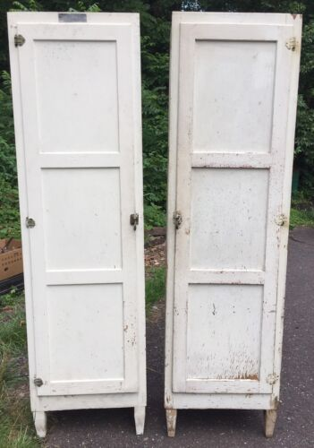 Pair of Antique McDougall Hoosier Side Cupboards Cabinets RARE Vintage Kitchen