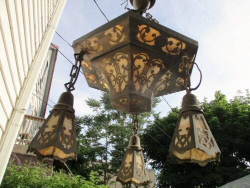 Atq Brass Arts & Crafts Stained Glass Slag Glass Wide Brass Filigree Chandelier