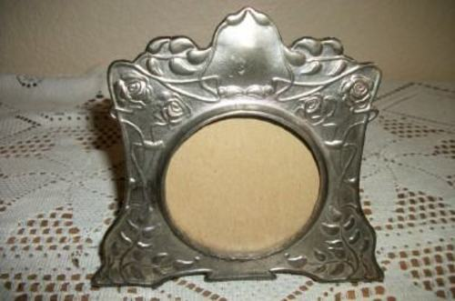 EARLY CHIC BUCKLERS ART NOUVEAU PEWTER FRAME NUMBERED SHABBY ARTS & CRAFTS