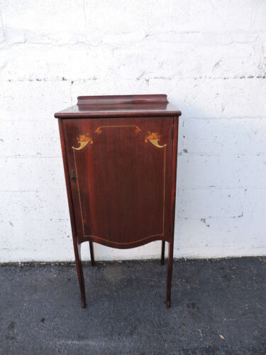 Early 1900s Victorian Cherry & Inlay Record Holder Cabinet Case Music Cabine7997