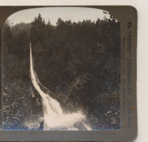 A Lumber Flume Bringin Wood from Mill to Railroad OR HC White Stereoview 1904