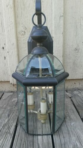 "Brass Glass Hanging Porch Lantern Large 3 Light Outdoor Wall Sconce 20"" Tall"
