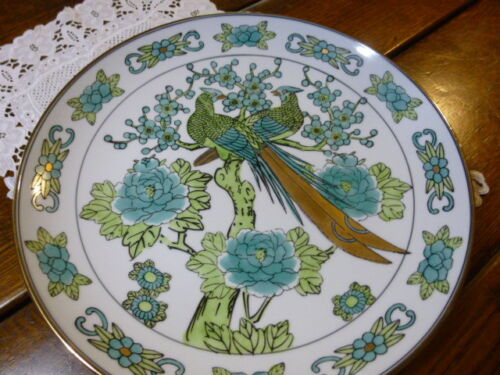 GOLD IMARI HAND PAINTED PORCELAIN PLATE WITH EMERALD GREEN PEACOCKS AND FLOWERS