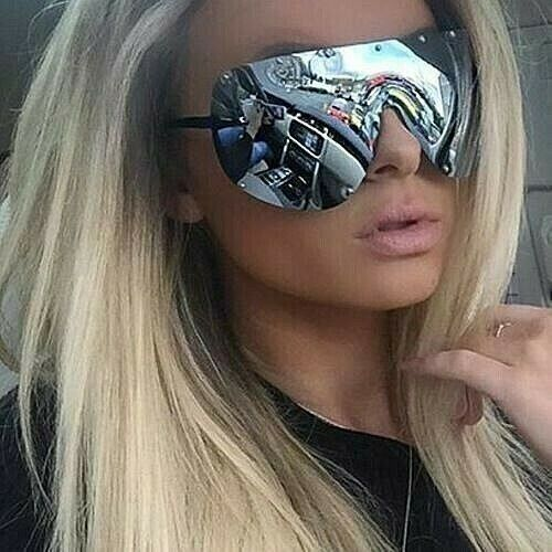 """FULL MASK"" Shield MIrror POLARIZED Lens Women Sunglasses GAFAS OWEN RIMLESS"