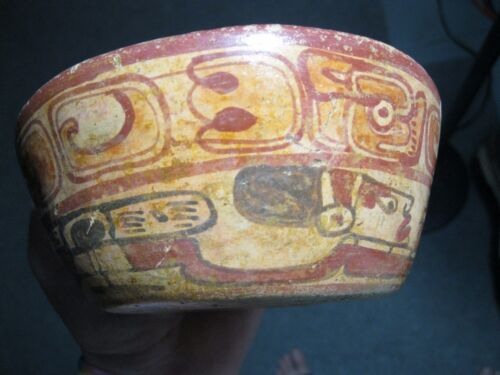 """MLC s454 AUTHENTIC 6"""" Mayan POTTERY Swimmers BOWL Iconography Mexico Artifact"""