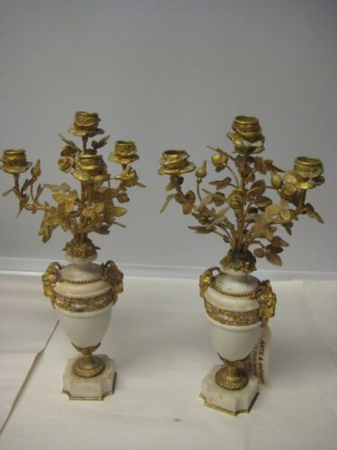 FRENCH BRONZE AND MARBLE PAIR OF CANDELABRAS 16.5""