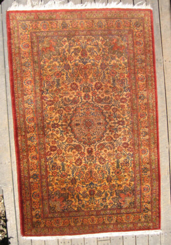 "Antique Persian Ferahan Sarouk ""Missing Link"" Rug circa 1910 3x5 Natural Dyes"