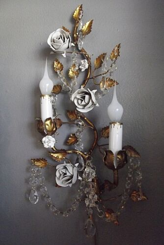 Italian Tole White Rose Wall Sconce Vintage