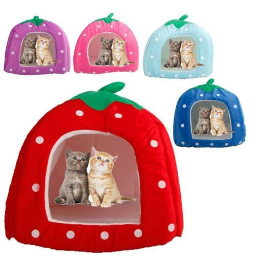 New Pet Strawberry Bed House Kennel Doggy Warm Cushion Basket Colorful 3 Size