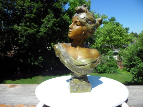ART NOUVEAU SPELTER STATUE OR BUST - TITLED CIRCE - BY -  E. VILLANIS  NR.