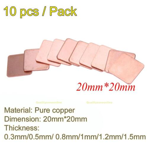 10 pcs 20mmx20mm 0.3mm to1.5mm Heatsink Copper Shim Thermal Pads for Laptop