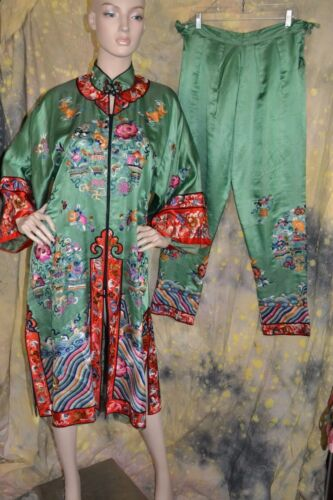 VINTAGE 30s CHINESE SILK green HEAVILY EMBROIDERED outfit robe pants GOLDFISH M