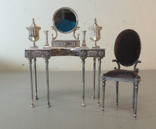RARE 7-PC. SILVER VLADIMIR MATUSOVSKY MINIATURE EMPRESS MARIA VANITY TABLE SET