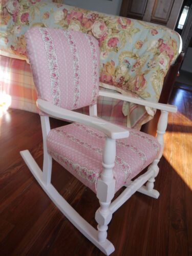 Antique '30's Child's Upholstered Rocking Chair, Hand Painted, New Upholstery