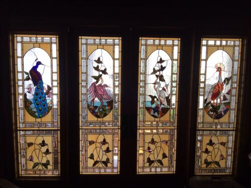 Spectular Large Stained Leaded Glass 4 Panels   Exotic Bird Windows