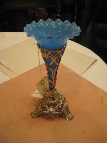 Victorian Epergne Centerpiece, Blue Glass Vase with Silver Plated Stand