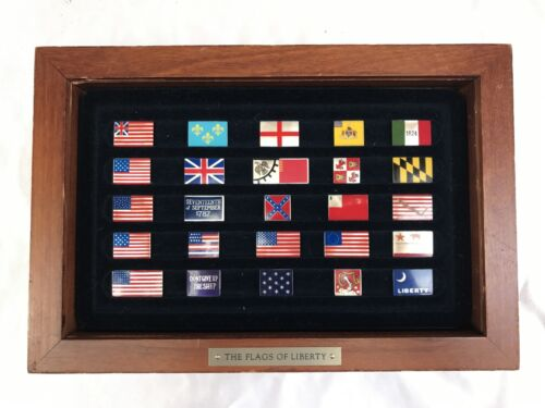 MAGNIFICENT COLLECTION OF 25 PIECES ENAMELED STERLING ( FLAGS OF LIBERTY) +BOX
