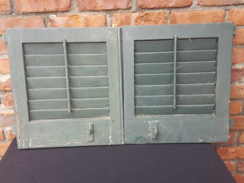 """Antique Pair Wood Louvered Eye Brow Shutters EACH 17 h 15 3/4""""W nice Color"""