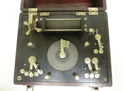 Antique Vintage Signal Electric Wheel Rheotome Graphic Rheostat Device Wood Box