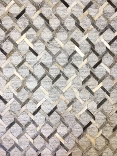 Contemporary Cowhide - Modern Leather Rug - Viscose Carpet - 5 x 8 ft.