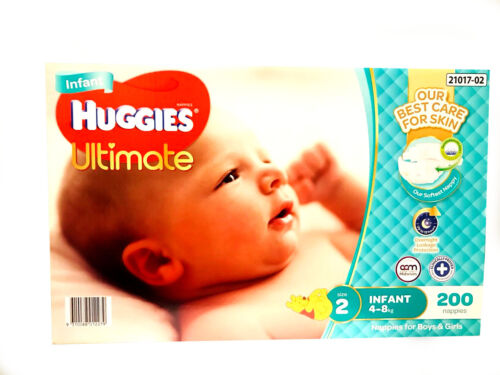 New Range Huggies Ultimate Nappies Infant 200 Disposable  Baby Boy Girl Nappy