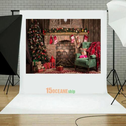 5ft Retro Christmas Fireplace Photography Backdrop Photo Studio Background Prop