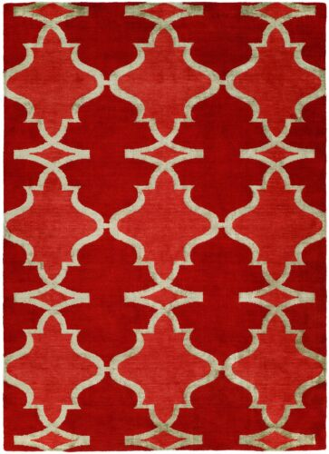 Intricate Indian - Modern Contemporary Rug -  Bold Red Carpet - 6 x 9 ft.