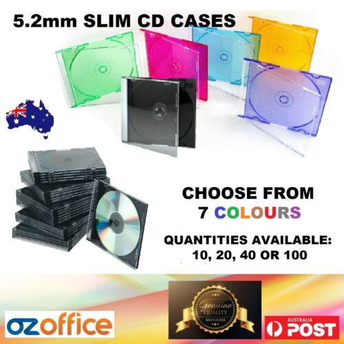 5mm Slim CD Jewel Cases Slimline CD Case Single Disc BLACK and MIXED COLOUR